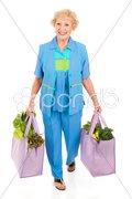 Environmentally Aware Senior Shopper Stock Photos