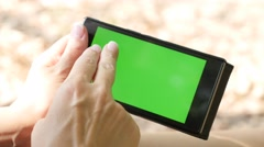 Using in  nature Internet on green screen mobile phone display for Internet 4 Stock Footage