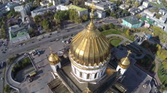 Flight around of the Cathedral of Christ the Saviour against background of city Stock Footage