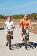 Active Retired Seniors on Bikes Stock Photos