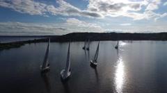 Sailing regatta in the bay Stock Footage