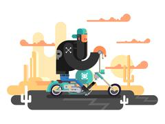 Cool biker on a motorcycle Stock Illustration