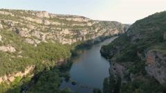 Flight over the canyon - Krka, roski slap Stock Footage