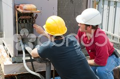 Repairing Industrial Air Conditioner Stock Photos