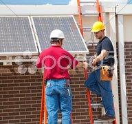 Solar Panel Installation Stock Photos