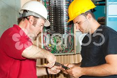 Electricians Repair Circuit Breaker Stock Photos