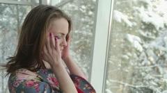 Girl Suffers a Headache Stock Footage