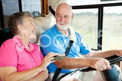 RV Seniors - GPS Navigation Stock Photos