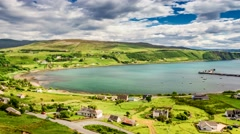 Sunny day in the Uig town, Skye Island, Scotland, 4k, Timelapse Stock Footage