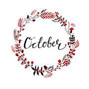 Autumn round frame Stock Illustration