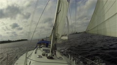 View From Front Of Moving Sailing Boat In Baltic Sea Storm HD Stock Footage