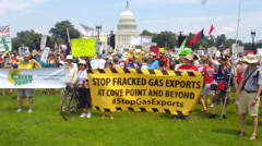 Protest against fracking Stock Footage