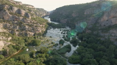 Aerial view of canyon and waterfall - Krka, roski slap Stock Footage
