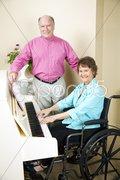 Church Pianist in Wheelchair Stock Photos