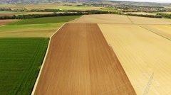 Aerial of a rural landscape with a tractor in germany Stock Footage