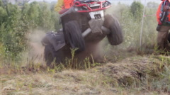 .  Extreme driving on the ATV. Slow motion. Stock Footage
