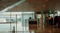 People boarding in Barcelona airport Stock Footage