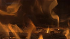 Close-up fire burning in the fireplace with tree logs  4K  UltraHD v Stock Footage