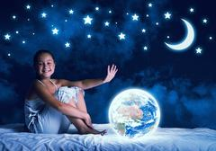 Girl dreaming before sleep Kuvituskuvat