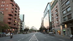 Barcelona street at dusk Stock Footage