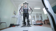 Medical walking robot. Rehabilitation, rehab, remediation for people with feet Stock Footage