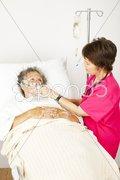 Hospital Patient Gets Oxygen Stock Photos
