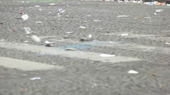 Litter on the street. Stock Footage