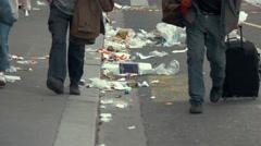 People walking past garbage. Stock Footage