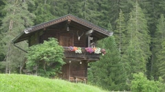 Traditional austrian wooden hut Stock Footage