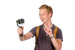Man with gimbal isolated Stock Photos