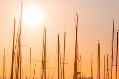 Rows of boats mast Stock Photos