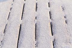 Snow covered wood terrace Stock Photos