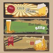 Vector beer horizontal vintage banners.  Mug, Bottle. Best price. Light, cold Stock Illustration