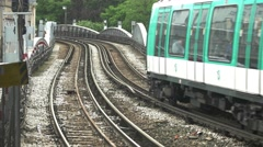 Trains are moving on rails. Stock Footage