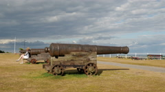 Southwold Gun Hill Canons overlooking the Sea Stock Footage