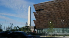 African American Museum Washington Monument Stock Footage