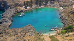 Bay in Lindos on the island of Rhodes in greece. Aerial Video footage in 4K Stock Footage