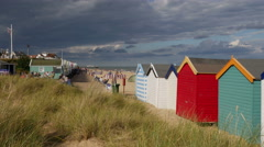 Beach Huts on the foreshore at Southwold Stock Footage