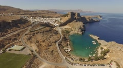 Aerial 4K Clip: castle in Lindos on the island of Rhodes in greece Stock Footage