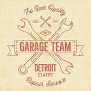 Garage service vintage tee design graphics, Detroit classic, repair service Piirros