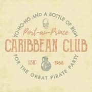 Vintage handcrafted label, emblem. Caribbean club logo template. Sketching Stock Illustration