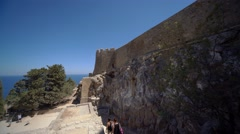 Castle in Greece in Lindos (Rhodes) Stock Footage