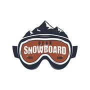 Snowboarding goggles extreme logo and label template. Winter snowboard sport Piirros