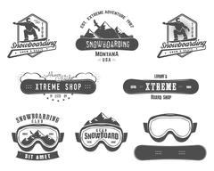 Set of Snowboarding extreme logo and label templates. Winter snowboard sport Piirros