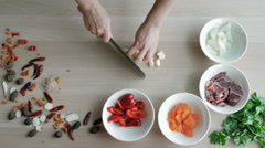 Top View of Chefs Hands Chopping Ginger On Wooden Board, Healthy Food Concept Stock Footage