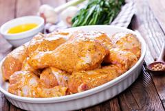 Chicken legs with aroma spice and marinad Stock Photos