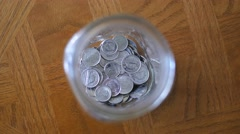 4K Saving Jar With Money Top View Stock Footage