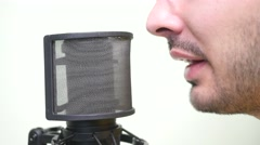 4K Talking Broadcaster With Mic Closeup Stock Footage