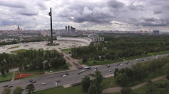 Aerial city panorama of Moscow in the poklonnaya gora area. RL pan camera. Stock Footage