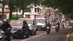 Cars and bikes rapidly moving. Stock Footage